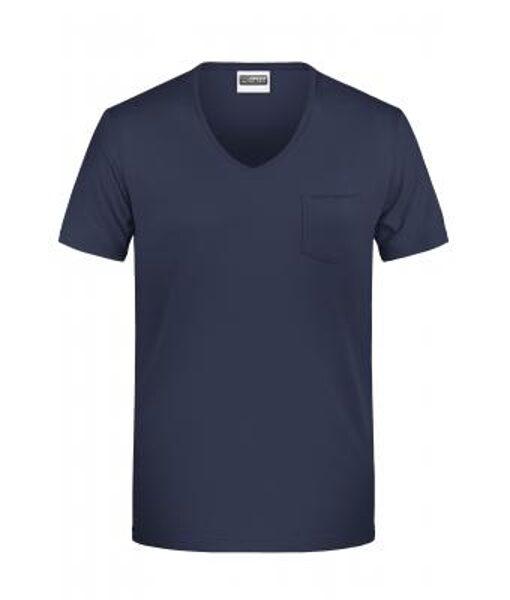 Vīriešu organiskās kokvilnas t-krekls ar V veida kabatu un krūšu kabatu 8004